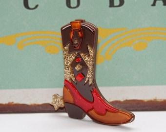 Brosche, Stiefel, Vintagebrosche, Hippie Style, Accessoires, Cowboyboots,Westernstiefel,