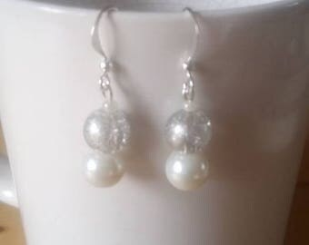 boho style sparkly silver and white beaded earrings
