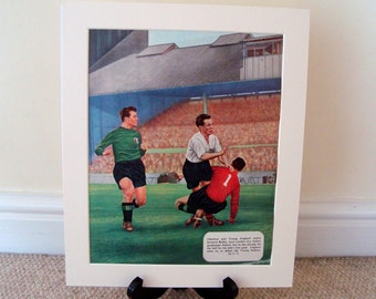 1950s Mounted Unframed colour Football/ Soccer prints. Five available. Manchester City, Spurs, Charlton, Arsenal, Wolves, Huddersfield