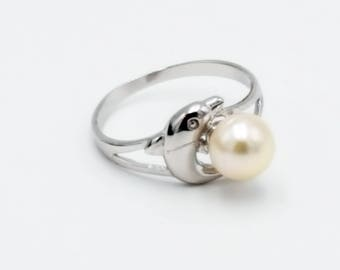 Sterling Silver Pearl and Dolphin Ring - Silver Dolphin Ring with Genuine Freshwater White Pearl