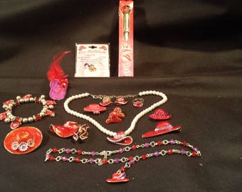 Lot of 13 piece RED HAT SOCIETY Collection