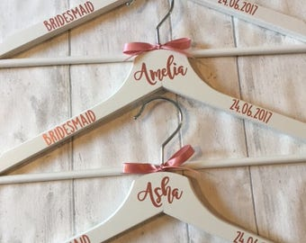 ROSE GOLD Vinyl.   Personalised White Wedding  Dress Hanger .   Personalised Hanger, Wedding Dress Hanger, Bridesmaid Hanger, Bride Hanger.