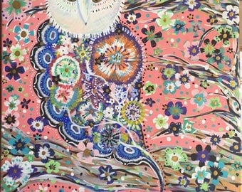 Colorful Owl and Flower Acrylic Painting