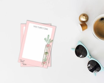 Memo Notepad, Stationery, Plants Note Pad, A6 Notes, Notes Paper, Pink Notepad, Cute Notepad, Office Gift, To List Pad, Gift Under 10