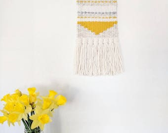 Yellow and Cream Woven Wall Hanging | White and Yellow Woven Wall Hanging
