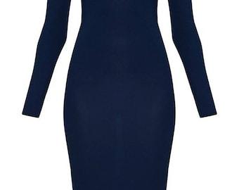 Blue Off Shoulder Long Sleeve Dress