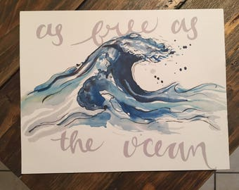 Watercolor Print - Watercolor Wave - Watercolor Ocean - Wave Print