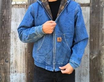 Vintage Carhartt Denim Jacket | 90s Carhartt Denim Jacket | Hooded Denim Jacket | Hooded Carhartt Jacket | Hooded Denim Carhartt