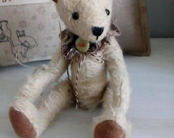 Fabric beige mohair bear, handmade