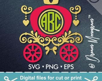 Princess Carriage SVG, Monogram frame svg, Carriage Svg,eps,dxf,png Princess Monogram Frame Svg