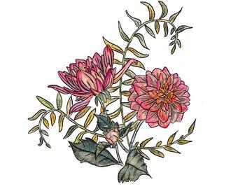 Dahlia Watercolor Painting, Original Watercolor, Watercolor Print, Floral Watercolor Print, Dahlia Illustration, Botanical Illustration