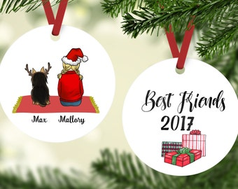 Best friends with Yorkie Ornament, Yorkie Ornaments, Yorkie Gifts, Dog Ornament, Personalized Yorkie Christmas Ornament, Ornaments For Kids