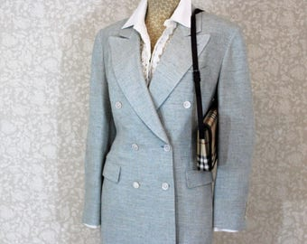 Burberrys Womens Double Breasted Silk Jacket Size 48 US Size 16-18 L XL   Made in Italy   colors: soft aqua, tan and cream   circa 1980's