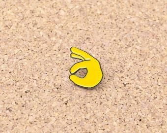 Emoji OK Hand Symbol Sign Lapel Hat Pin