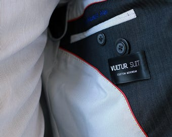 custom label for suit, suit label on sleeve, suit brand label, suit clothing label
