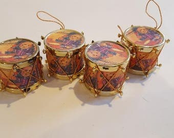 Four Little Drum Christams Tree Ornaments