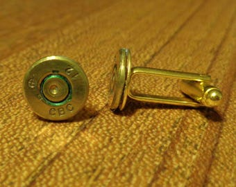 Bullet Jewelry- CBC 12 stamped 308 Brass Bullet Cuff Links