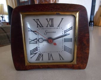 Antique Sessions Wood Desk Clock 1940's