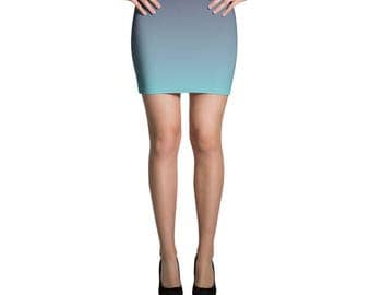 Blue Skirt, Ombre Skirt, Jersey Skirt, Turquoise Skirt, Fitted Skirt, Bodycon Skirt, Pencil Skirt, Printed Skirt, Mini Skirt, Summer Skirt