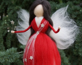 Christmas fairy Needle felted wool fairy Waldorf Felted Doll  Christmas favor Nursery Decor