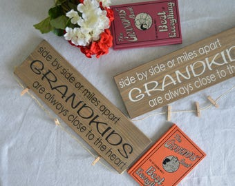 Grandkids sign- Grandchildren Sign - Side by side or miles apart grandkids are close to the heart - Grandparents gift - Photo Holder Sign