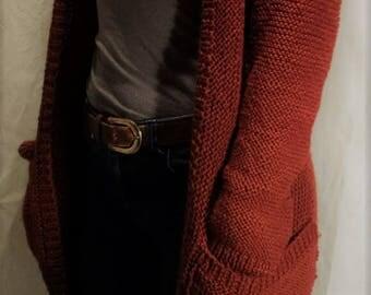 Long cardigan / Long sleeve cardigan / Hand knitted sweater / Cardigan with pockets / Sweater with pockets / Hand knit / Hand Knit Cardigan