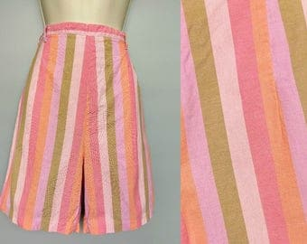 two scoops / 1960s pink striped high waisted bermuda shorts / 8 small