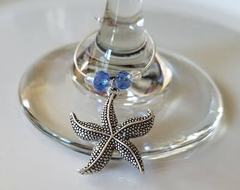 Starfish Wine Charms - Party Decor Starfish Charms - Set of 5 Party Favors | Ocean Decor | Starfish Charms | Gifts, SassyCharmsBoutique