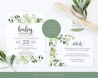 Greenery Baby Shower Invitation, Printable Green Leaves Baby Shower Invite Template, Details Card, Books for Baby, Instant Download WLP505