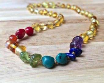 Rainbow Amber Teething Necklace, Rainbow baby, Baltic Amber, Custom Amber, infant loss, rainbow after the storm, rainbow photo prop