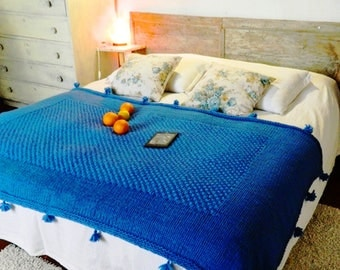 Blue Chunky Throw. Hand Made Wool Blanket. Bulky Knit Throw. Chunky Wool Knit. Country House Blue Blanket. Wedding gift. Housewarming gift.