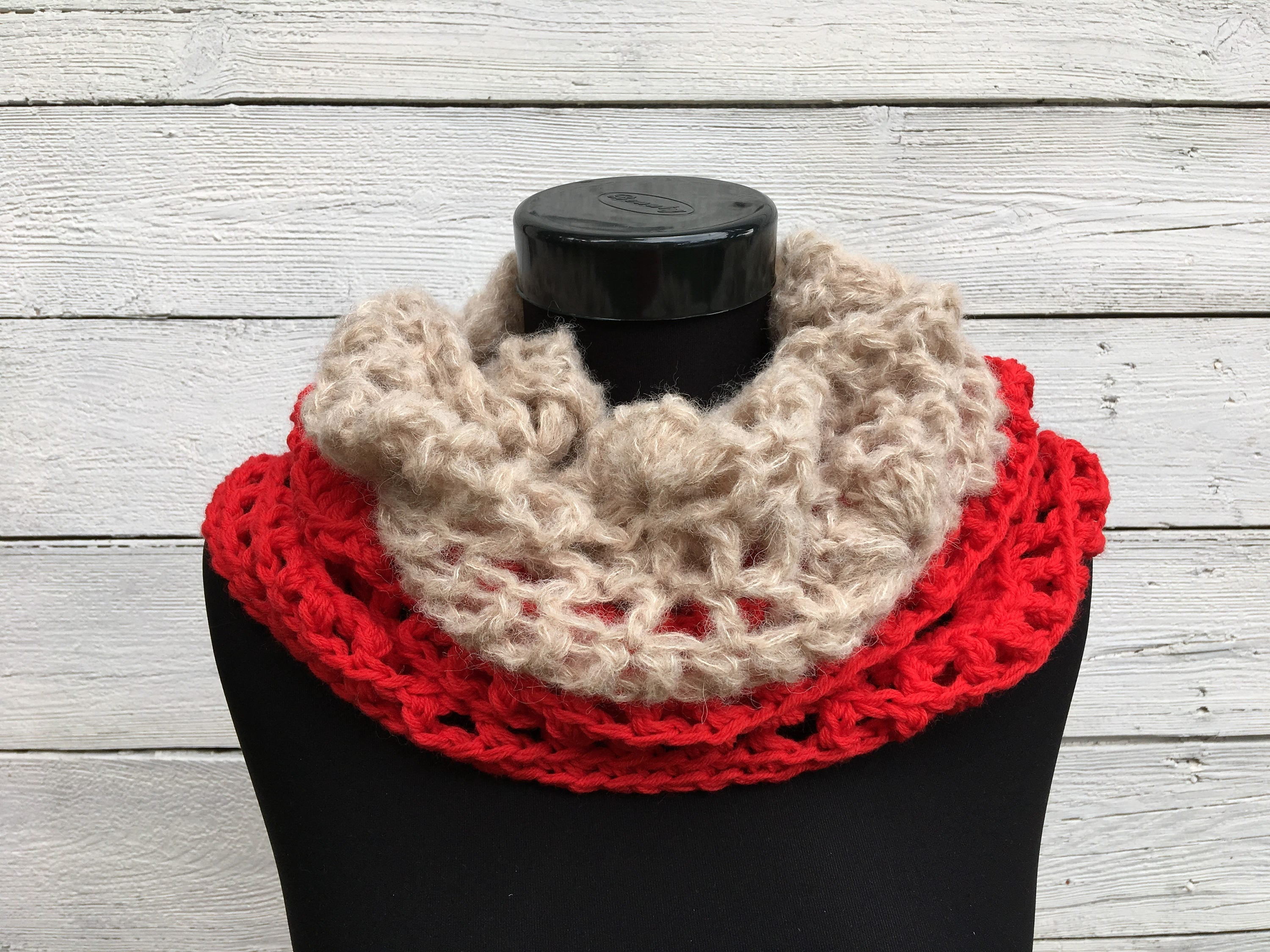 Crochet Cowl, Red Wool Large Alpaca Winter Infinity Scarf Neckwarmer ...