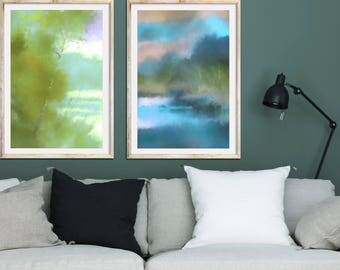 Living Room Wall Art Large Prints Set Of 2 Prints Landscape Wall Art Office Wall  Art Part 57