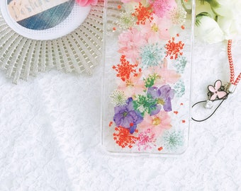 Handmade pressed flowers hard case for iphone 8 plus iphone 7 plus colorful style flowers press flower case