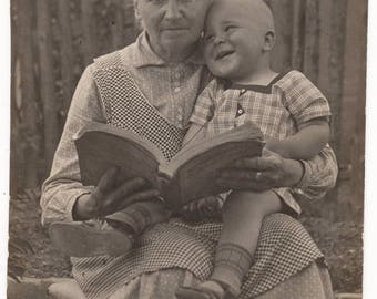 Vintage Photograph, Little BOY sits on GRANNY'S Lap, READING Story Together,  c1920