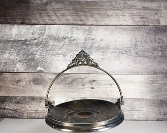 Vintage silver brides basket by Meriden | dessert tray