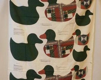 Stuffed Ducks Fabric Panel, Calico Quilt, Six Ducks, A VIP Print, Cranston Print Works