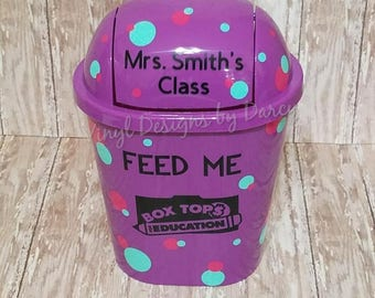 Box Tops for Education - Personalized  - Purple Trash Can - Teacher Gift - Polka Dots