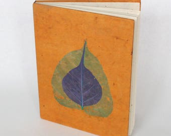 Eco-Friendly Handmade Lokta Bark Paper Journal | Orange Leaves Natural Notebook | Unique Sustainable Hard Cover Diary Nepal | Fair Trade