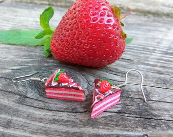 Chocolate cream Earrings cakes Strawberries cakes Chocolate cakes Clay earrings Miniature food Strawberries Chocolate Gift for girl