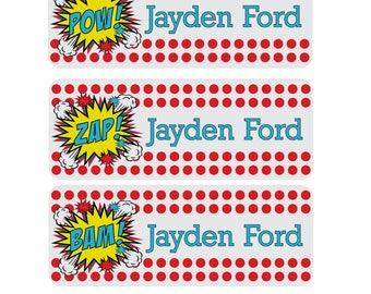 Waterproof Superhero Name Labels, Dishwasher Safe Superhero Name Stickers, Custom Daycare Labels, Sippy Cup Labels, Kids Name Labels