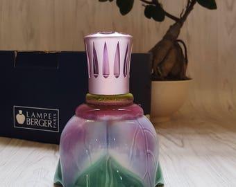Art Glass Purple Green Tulip Petals Design Sphere Glass Brass Top Vintage Lampe Berger Catalytic Fragrance Lamp Made in Paris, France