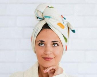 "19"" x 35"" polka dot organic cotton t-shirt hair towel"