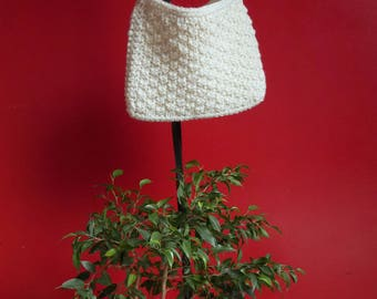 In cream white wool shoulder bag