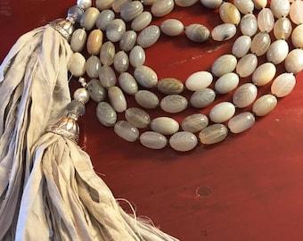 Lariat Necklace, Lariat, Lariat Necklace Silver, Lariat Necklaces for Women, Lariat Rope, Carved Agate Lariat with Sari Silk Tassel