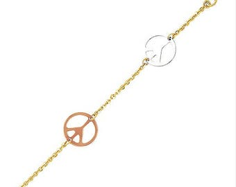 14K Solid Yellow White Rose Gold Peace Sign Bracelet - Love Charm Rolo Chain Link