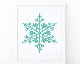 Snowflake glitter, Christmas print, Sparkle wall art, Christmas decor, Snowflake print, sparkle print, Chritsmas printable, printable art