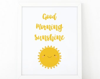 Good morning sunshine, printable art, Rise and shine, nursery wall art, good morning print, cute sun, nursery printable art, shooshprints