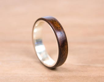 Silver and Rosewood bentwood ring. Engagement ring, wedding ring.