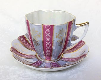 Pink and Blue Lusterware Japanese Teacup and Saucer, Vintage Castle Japan Cup and Saucer, Iridescent Pearl Tea Cup and Saucer